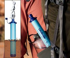 Love the outdoor adventure? Then personal water filter stick is must have in survival gear for clean drinking water anywhere. Survival Gadgets, Survival Food, Camping Survival, Survival Prepping, Emergency Preparedness, Survival Skills, Survival Stuff, Home Water Filtration, Yoga For Runners