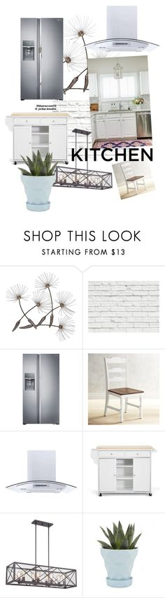 """White dream kitchen🌸"" by blueraccoon72 ❤ liked on Polyvore featuring interior, interiors, interior design, home, home decor, interior decorating, Brewster Home Fashions, Samsung, Pier 1 Imports and Baxton Studio"