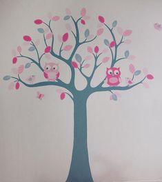 roze babykamer boom meisje