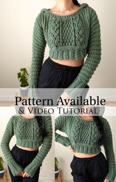 Knitting Projects, Knitting Patterns, Crochet Patterns, Crochet Jumper Free Pattern, Crochet Fashion, Diy Fashion, Motif Bikini, Crochet Crop Top, Crochet Tops