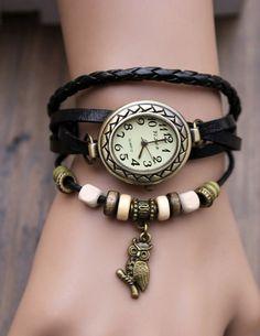 Relógio de pulso com pulseira de couro cadeia charme by charms925