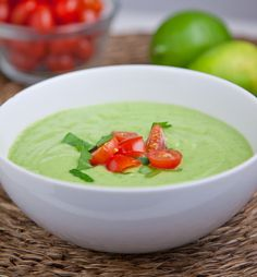 Chilled Cucumber Avocado Soup: Blend 1 lb. Organic Cucumbers, roughly chopped (peel if not organic) (2 lg), 2 Small Avocados, ¼ C. Fresh Lime Juice (2 limes) ¾ C. Water, 1 Tsp. Sea Salt & ½ Tsp. Black Pepper till smooth. Chill 1 hr. Top w  Chopped Tomato. Keeps 4 days. gm John 3:16