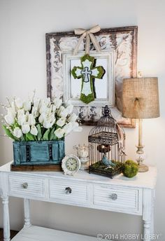 Create a warm and inviting entryway to welcome guests for Easter. More Spring & Easter Home Decor Ideas on Frugal Coupon Living.