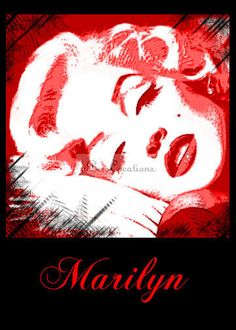 Unique Marilyn Monroe art print Marilyn in Red by aBeesCreations,