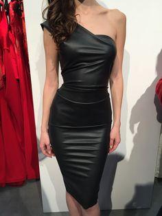 Nicole Bakti One Shoulder Faux Leather Dress With Ruffle Back