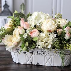 French Country/Cottage arrangement. So pretty.
