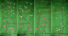 G & W Collections: Chinoiserie Papers - Du Paqier (panels) Silk Wallpaper, Chinoiserie Wallpaper, Green Wallpaper, Wallpaper Panels, Pattern Wallpaper, Japanese Wall, Hand Painted, Painted Silk, Traditional