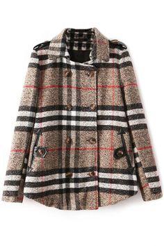 Classic Plaid PU-Trim Wool Pea Coat