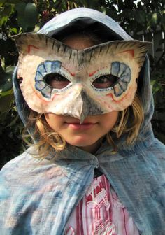Owl mask made with paperclay - tute lite by Indietutes. Owl Mask, Paperclay, Mask Making, Holidays Halloween, Masks, Crafting, Tutorials, Craft Ideas, Costumes