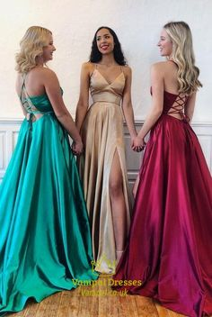 Simple V Neck Long Prom Dress with Cross Back simple v neck long prom dresses with slit, 2019 prom dresses with spaghetti straps, green prom dresses, champagne prom dresses, burgundy prom dresses Grad Dresses, Cheap Prom Dresses, Simple Dresses, Sexy Dresses, Evening Dresses, Formal Dresses, Wedding Dresses, Long Dresses, Champagne Prom Dresses