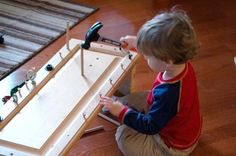 Great idea for Leo! he can do this when we are working on our projects in the garage DIY Pounding Bench Reader Project