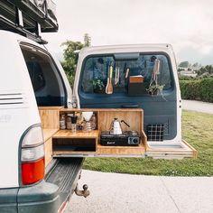Survival camping tips Minivan Camping, Truck Bed Camping, Tent Camping, Truck Tent, Camping Outdoors, Camping Hacks, Camping Kitchen Set Up, Camper Kitchen, Minivan Camper Conversion