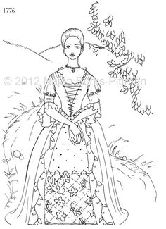 Woman in 1776 Dressing Up Through History Coloring Page - these would be wonderful in redwork - check out this site!