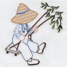 "* ""Swinging""  Denim Dan.  Aunt Martha's  Embroidery.  OregonPatchWorks"