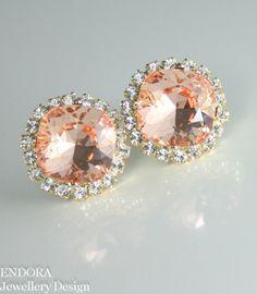 Peach earrings   Peach crystal earrings   Peach wedding   #EndoraJewellery   #EndoraJewellery - Custom Swarovski crystal bridal, bridesmaid and flower girl jewelry