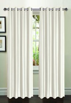 """Window Elements Jamie Faux Silk Extra Wide Grommet Curtain Panel, 54"""" by 95"""" White"""