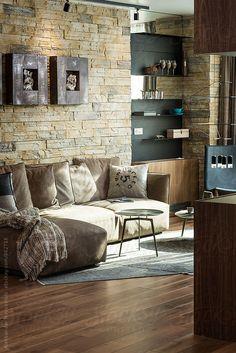 Modern living room in contemporary interior by Aleksandar Novoselski - Stocksy United Hardwood Floors, Flooring, Contemporary Interior, Modern Living, Decor Styles, New Homes, Loft, Couch, Living Room