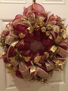 Burgundy, gold and silver deco mesh wreath