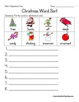 Christmas Alphabetical Order Worksheet