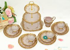 14 Piece - Tuscan Baby Pink & Ornate Gold trim China TEA SET including 3 Tier Cake Stand and creamer. Bone China, England c.1947 by FlyingSquirrelNest on Etsy