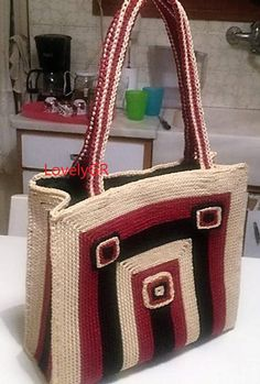 Women Market Crochet Bag Plastic Canvas Beige Black Purple Color Polyester Cord