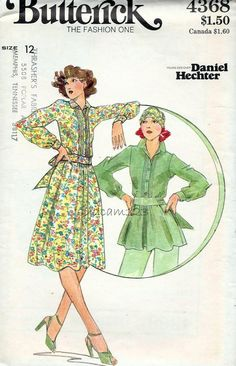 Vintage 1970s Pattern Pintucked Bodice Flowy Dress or by sydcam123