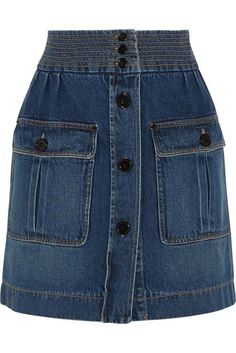 Editor's Pick: A button-front denim skirt for every budget - Chloé Stonewashed… Button Front Denim Skirt, Denim Mini Skirt, Mini Skirts, Denim Fashion, Trendy Fashion, Style Fashion, Dree Hemingway, Jean Délavé, Jeans Rock