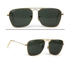 afb6d8537ce4d Items similar to CherryREVOLVER 60 s Vintage b l RAY BAN USA 24k Gold  Filled Caravan Pilot Aviator Sunglasses RayBan Sunglasses Gold Dark Green  Glass Lens ...