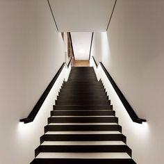 Black stairs modern stairways staircase design Ideas for 2019 Black Stairs, White Staircase, Staircase Handrail, Staircase Design, Railings, Wood Stairs, Grand Staircase, Wood Handrail, Stair Design
