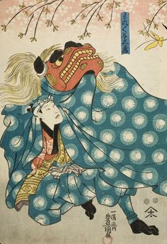 Actors as Lion Dancers (part of a triptych), Utagawa Kunisada Japanese Mythical Creatures, Fu Dog, Japanese Warrior, Lion Dance, Japan Painting, Dragons, Japanese Folklore, Japanese Tattoo Art, Japanese Illustration