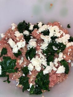 Turkey, feta & spinach meatballs before all the ingredients are mixed:) I really need to make these more often! These meatballs are perfect for diabetics:) They are low carb & delicious! Low Carb Meatball Recipe, Chicken Meatball Recipes, Healthy Snacks For Diabetics, Healthy Eating, Healthy Recipes, Diabetic Snacks, Healthy Tips, Healthy Foods, Clean Eating