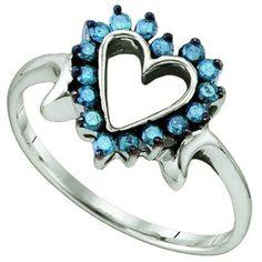 10k White Gold Blue Diamond Ladies Heart Promise Ring