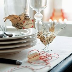 Birds from sheet music - place cards