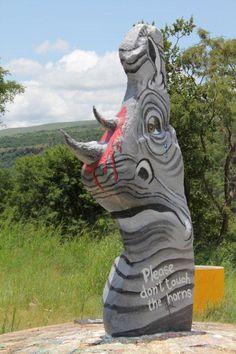 Please leave our rhinos alone Garden Sculpture, Lion Sculpture, Rhinos, Statue, Outdoor Decor, Art, Art Background, Kunst, Gcse Art