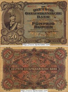 100 Rupien banknote German East Africa 1905 with image of Kaiser Wilhelm II