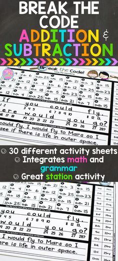 Break the Code is a fun way for students to practice addition and subtraction, as well as, answering questions. Students solve the equations and then use the code to figure out what the question is. Then, they answer the question, using complete sentences, proper conventions, and lots of creative thought.