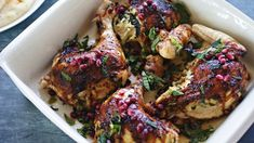 Roast chicken with haloumi stuffing, mint and pomegranate