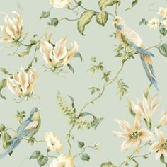 Tropical Floral Wallpaper birds raised print blue SureStrip prepasted - Wallpaper - Ideas of Wallpaper Toile Wallpaper, Botanical Wallpaper, Bird Wallpaper, Embossed Wallpaper, Wallpaper Online, Wallpaper Roll, Peel And Stick Wallpaper, Bathroom Wallpaper, Liberty Wallpaper