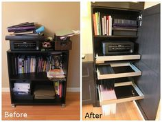 Don't let clutter overtake your room.  Use BESTA cabinets to organize everything you need from your printer to your books and files.  Check out more of this IKEA Home Tour makeover!