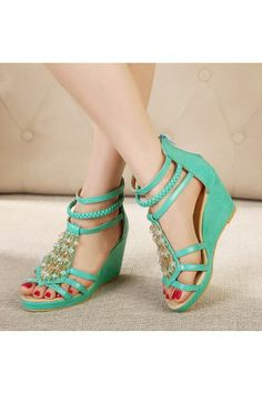 Green Faux Leather Beaded Strappy Gladiator Wedges e153390d63c
