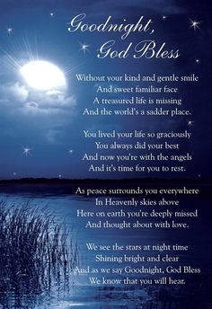 God Bless Good Night Prayer | Details about Graveside Bereavement Memorial Cards (b) VARIETY You ...