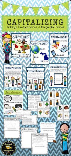 FREE capitalization worksheet- Capitalizing holidays | School ...