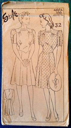 "Rare vintage 1940's dress sewing pattern Style 4554. ""Dress: A charming afternoon frock, with bodice gathered into shoulder yoke at front. The skirt is panelled back and front and the half belt at back nips in the waist-line."""