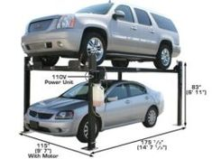 Garage Pro 8000 - 8,000 lb. Capacity 4 Post Car Lift, Four Post Lift, Hydraulic Cylinder, Metal Working Tools, Garage, Carport Garage, Garages, Car Garage, Carriage House