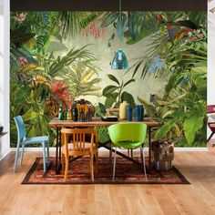 Rainforest Wall Mural. Animal and nature themed wallpaper that eye catching and modern! Parrots and palm trees