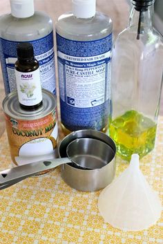 Homemade Coconut Shampoo  Ingredients:    1/2 cup coconut milk  2/3 cup castile soap (Dr. Bronners)  40 drops essential oil (jasmine)  2 teaspoons olive oil    Combine all the ingredients in an empty shampoo bottle or jar and shake. I used a funnel to pour ingredients in the empty bottle.    You can keep it in the shower for one to two months. Shake well before each use.