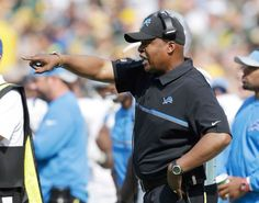 Detroit Lions head coach Jim Caldwell yells to