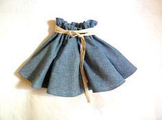 Chambray Denim Twirling Skirt with Linen / HarrietsHaberdashery