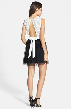 As U Wish 'Eve' Lace Bodice Cutout Skater Dress (Juniors) | Nordstrom