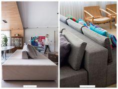 Conheça e aprenda a usar o sofá dupla face, ou duplo. Um móvel único. Uma única peça: Um encosto com assentos voltados para dois lados opostos que pode te ajudar muito a ganhar espaço na sua casa e encher de charme a sua decoração.